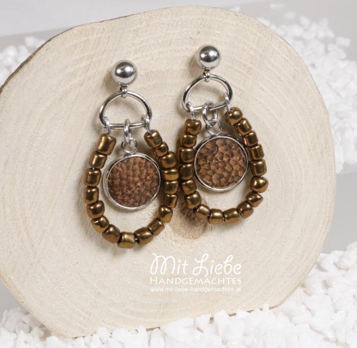 Ohrringe Perlen Fischleder - Kreativwerkstatt