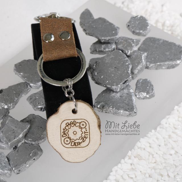 Leder Holz Schlüsselanhänger - Kreativwerkstatt