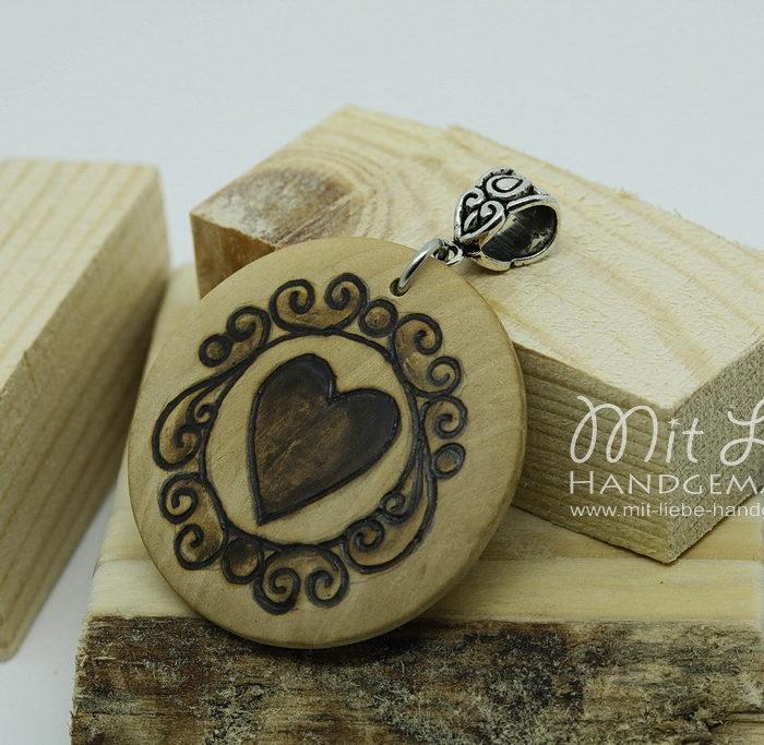 Holzmedaillon Herz - Kreativwerkstatt