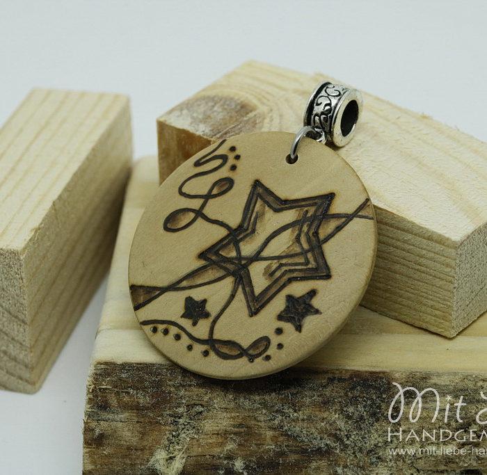 Holzmedaillon Stern - Kreativwerkstatt